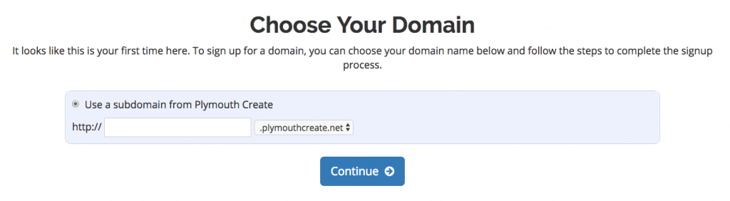 Choose your domain at PlymouthCreate